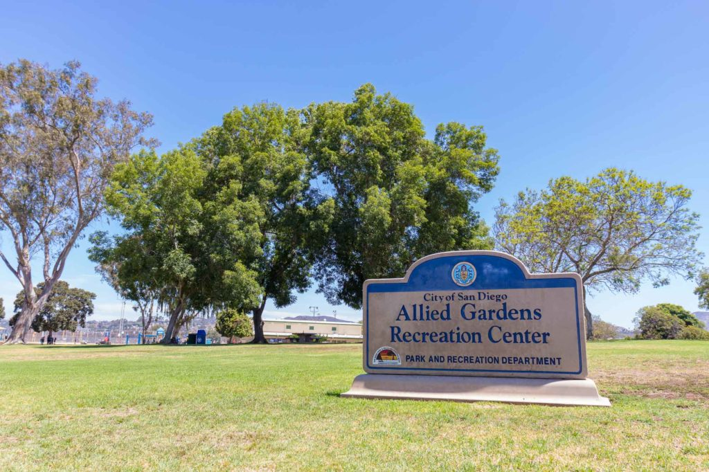 Allied Gardens Recreation Center sign and park views