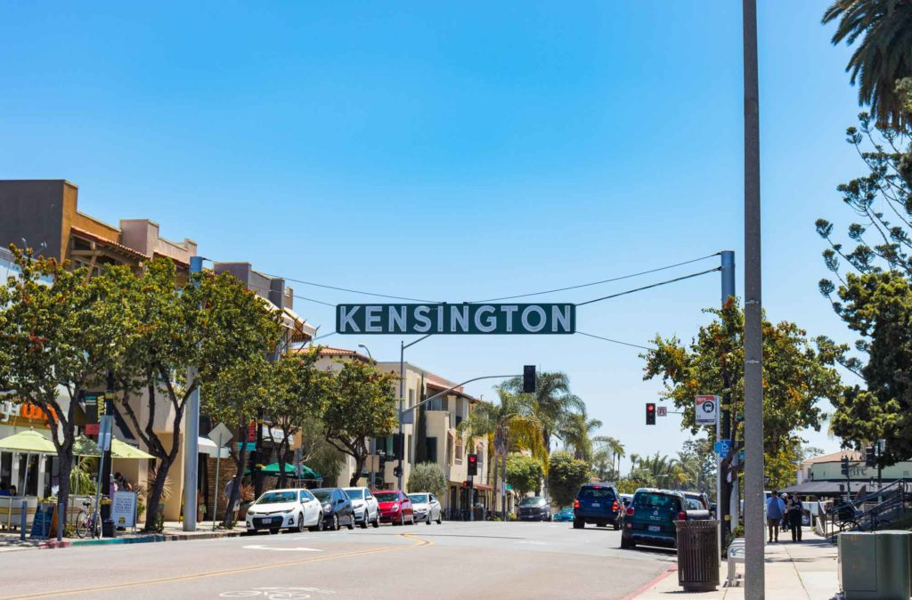 The Kensington San Diego sign on Adams Avenue