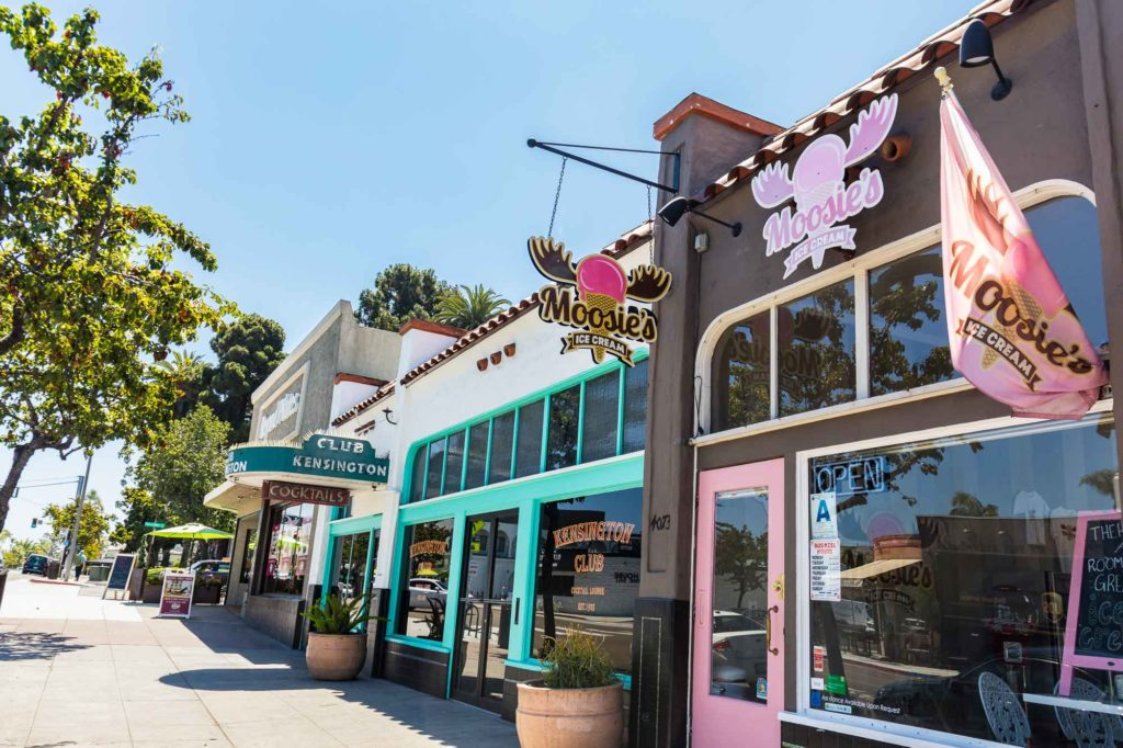 The Adams Avenue Shops Moosie's Ice Cream, Club Kensington, and Beyond Pilates in Kensington San Diego